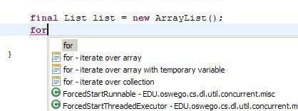 Eclipse auto-complete for iteration